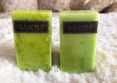 "2 Illume Pineapple Cilantro Retired Fragrance 3.5"" Rectangle Pillar Candles NEW"