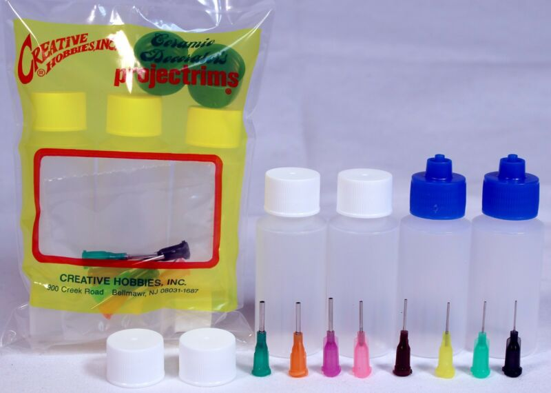 Multi Purpose Precision Henna Applicator Super Set, 4 Bottles, 8 Tips, 6 Caps