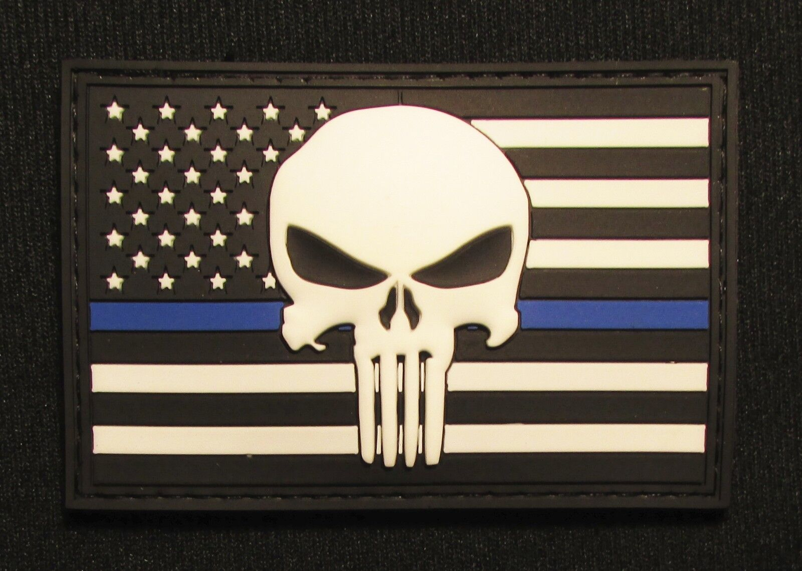 USA spartan THIN BLUE LINE FLAG BLACK OP RUBBER 3D PVC GLOW HOOK PATCH