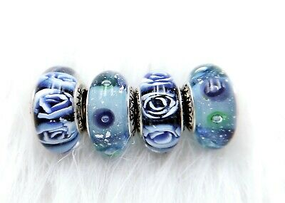 4 Pandora Silver  Murano Charm Blue Magic Rose Flower Bubble Beads #366 -