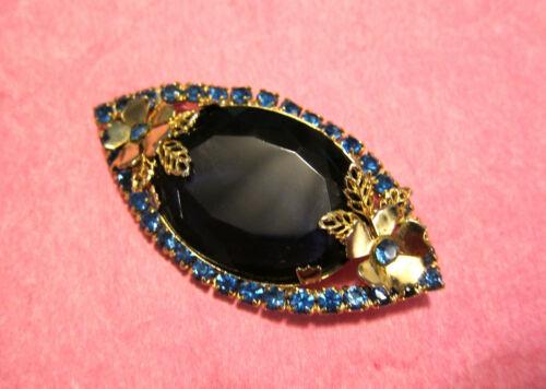 Vintage Juliana Dark Blue Oval Glass Stone Very Pretty Brooch/Pin