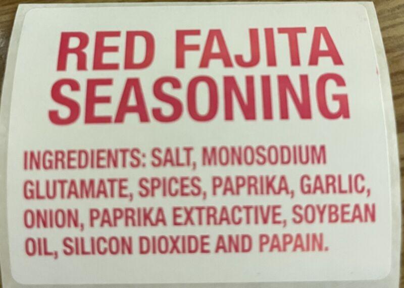 """Red Fajita Seasoning Ingredient Labels 1.47"""" x 1.844"""" Red on White"""