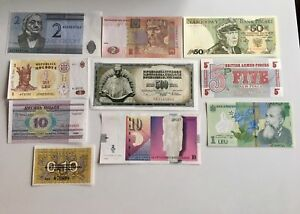 Collection of 10 Genuine European Banknotes - Crisps & UNC