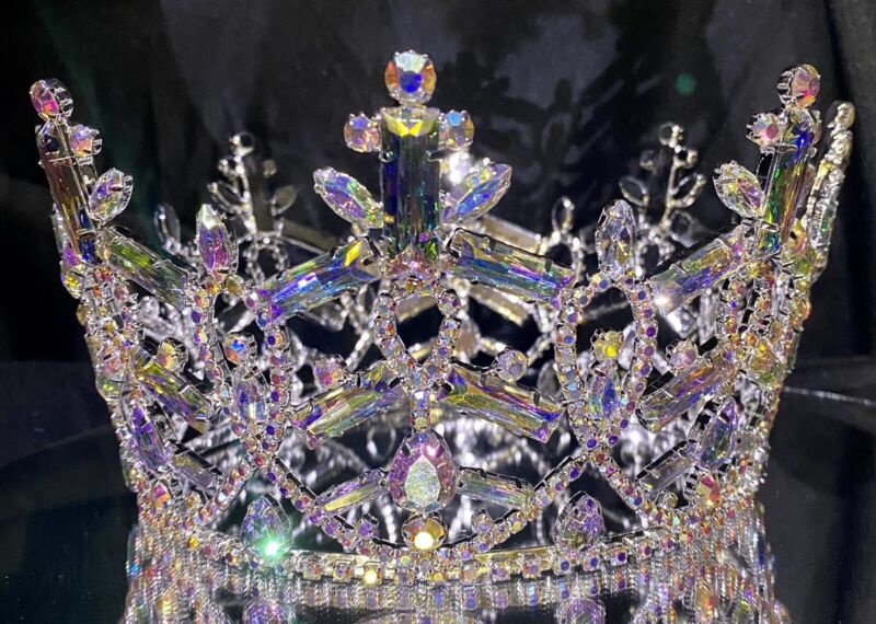 Rhinestone Large Pageant Crystal Round Crown Tiara Drag Queen 4 X 6 inch USA