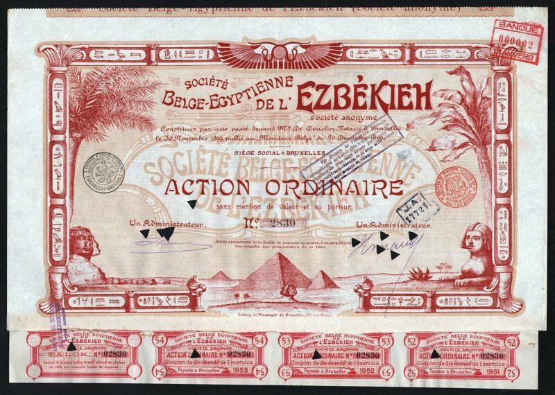 1899 Egypt / Belgium: Societe Belge-Egyptienne de l
