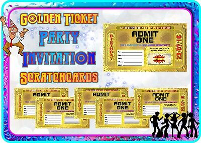 Golden Ticket Party Invitations Scratch Cards Customise Invite Cards Birthday - Golden Ticket Birthday Invitation