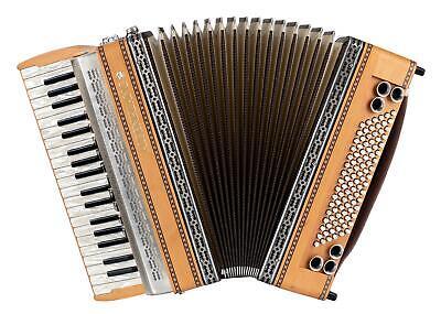 Alpenklang Pro IV/96 MH Piano Erle Akkordeon 4-chörig Musette Register Koffer