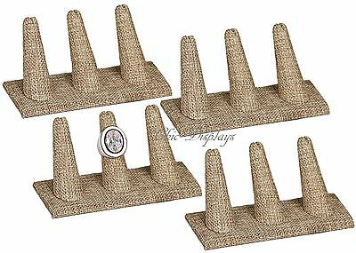 Lot Of 4 Modern Burlap 3 Finger Ring Display Stand Jewelry Ring Holder 2tall