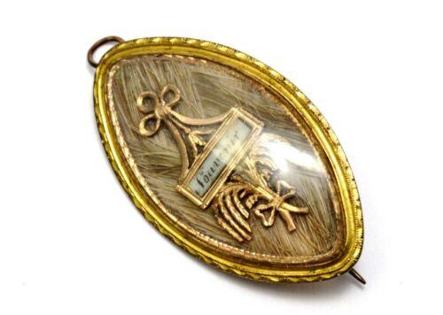 Georgian gold filled souvenir hair under glass memorial mourning pendant brooch