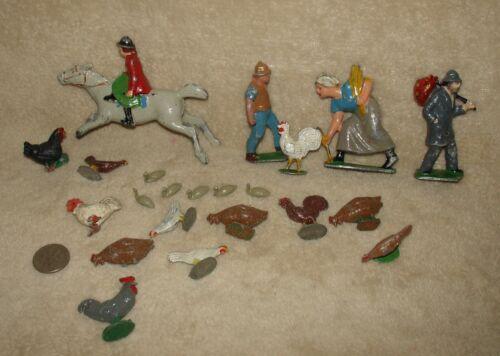 Lot of  VINTAGE ANTIQUE LEAD Miniatures jockey, horse, farm people, animals