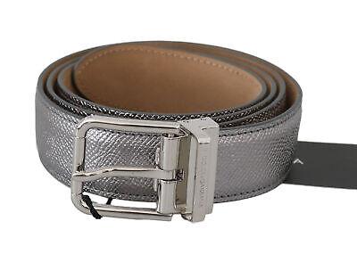 DOLCE & GABBANA Belt Silver Leather Shiny Metal Buckle s. 95cm / 38in $400