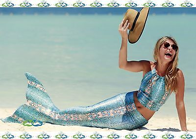 Affordable Costumes (THE2TAILS™ Adult Blue Spirit Scale Mermaid Tail Affordable w/ Fin)