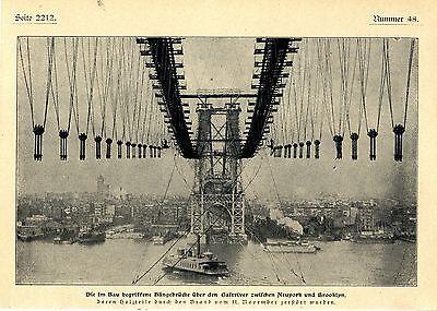 Die im Bau begriffene Haengebruecke ueber den Eastriver Neuyork u. Brooklyn 1902