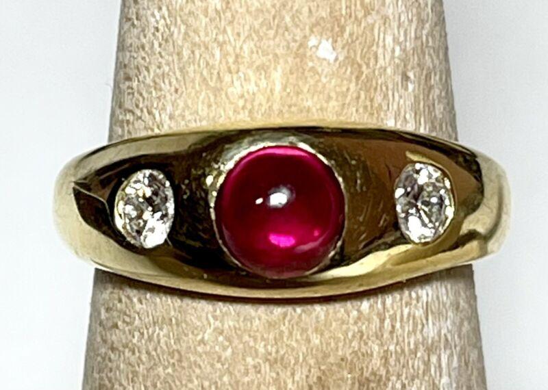 Fine Vintage 18K Yellow Gold Gypsy Ruby Diamond Ring, 5.8 Grams, Hallmarked