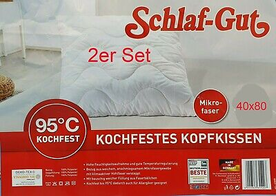fan Schlaf Gut Komfort Schlafkissen 2er Set kochfestKopfkissen Mikrofaser 40x80