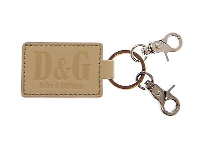 NEW DOLCE & GABBANA D&G White Leather Metal Ring Hook Logo Keychain Keyring