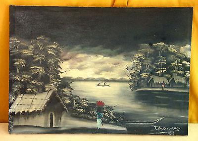 Afrikanisches Gemälde,Öl/Lw,60er,signT.ANDZOUANA,african tribal oil painting,60s
