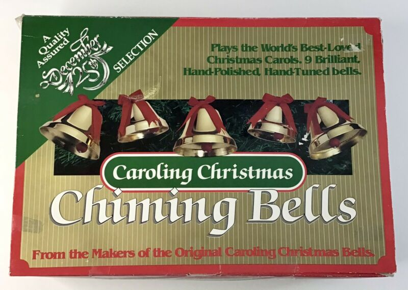 Vintage Caroling Christmas Chiming Bells 12 Songs 9 Bells TESTED