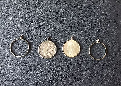 PACK OF 12 MORGAN SILVER DOLLAR COIN HOLDER BEZELS NECKLACE PENDANT NICE FIT