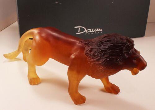 "Rare Large Daum ""Grand Lion"" Amber Tone Pate de Verre Glass Crystal Figurine"