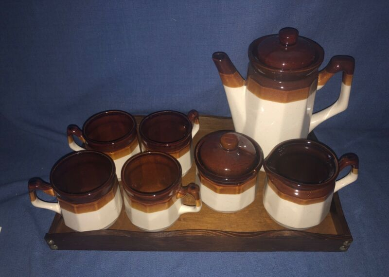 LTD 3Tone Brown Stoneware Coffee Set Pot 4 Cups Creamer Sugar Bowl & Lid Tray