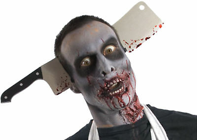 Zombie Cleaver Through Head Scary Costume Metal Look Blade Halloween Rubies - Metal Head Halloween Costume