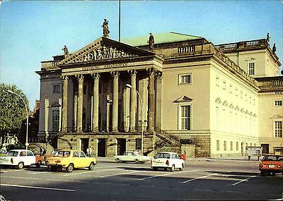BERLIN Ost DDR AK color 1980 Auto Autos a.d. Deutschen Staatsoper Oper Opera