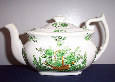 Spode China Pattern Green Basket TEA POT  SMALL HOLDS 2 CUPS LIQUID  EARTHENWARE