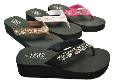 Womens Rhinestone Wedge Flip Flops Sandals Jeweled EVA Thongs -