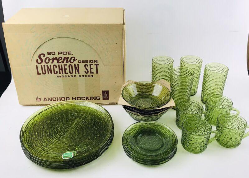 Vtg Anchor Hocking Avocado Green Soreno Glass Luncheon Set- for 4 / 20 Pieces