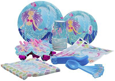 10 Guest - Mermaid Themed Birthday Party Plates, Cups, Napkins & More!