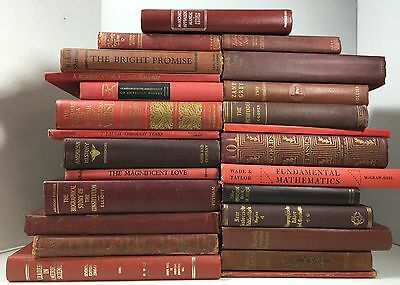Lot Of 5 Red Antique Vintage   Current Books Decorator Set  Mixed Lot