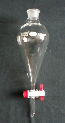 New Kimble 500ml Squibb Separatory Funnel And Ptfe Stopcock 29048f-500