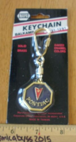 PONTIAC keychain solid brass early 1980s NOS baked enamel colors NAPA VINTAGE