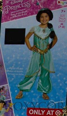 Jasmine Teen Costume (Halloween Disney Prestige Jasmine Jumpsuit Dress Up Costume Size Medium 7-8)