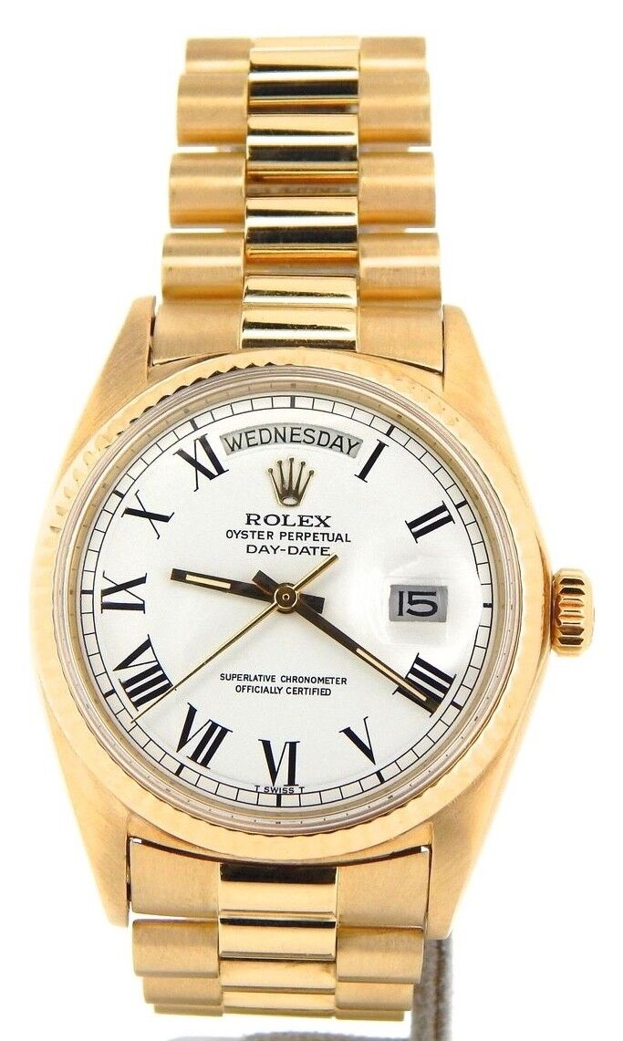 $9279.98 - Mens Rolex Day-Date President Solid 18K Yellow Gold Watch White Black Roman 1803