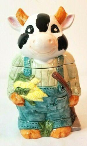 "Ceramic Cookie Jar Country Kitchen ""HOLSTEIN  BULL"" Diary Farmer 11 1/2"" tall"