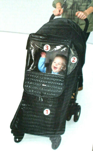 Chicco UNIVERSAL STROLLER SHIELD Rain Cover Black Quilted