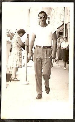 1940s Men's Shirts, Sweaters, Vests RPPC 1940's HUNKY MAN Chinos White T-Shirt SUNGLASSES Street Scene REAL PHOTO PC $7.95 AT vintagedancer.com