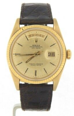 Mens Rolex Day-Date President 18K Yellow Gold Watch Linen Dial Brown Band 1803
