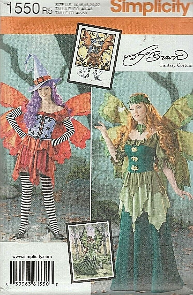 Simplicity Sewing Pattern 0211 1550 0790 Misses Fairy Costume Hat Size 14-22 UC