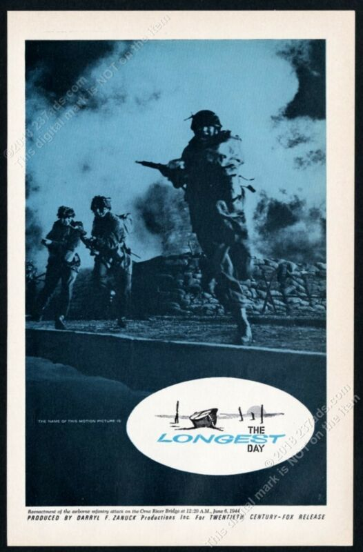 1962 The Longest Day movie release combat photo vintage trade print ad
