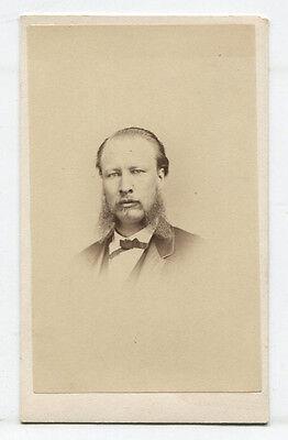 CDV MAN WITH VERY BAD MUTTON CHOP SIDEBURNS. ALBANY, N.Y. - Mutton Chop Sideburns