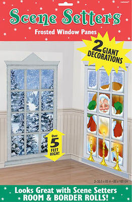Christmas scene setter *Frosted Windows Large Wall decoration FREE P&P