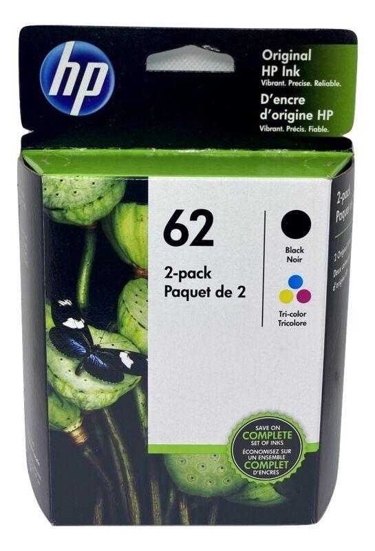 NEW Original HP 62 Black/Tri-Color 2-pack Ink Jets