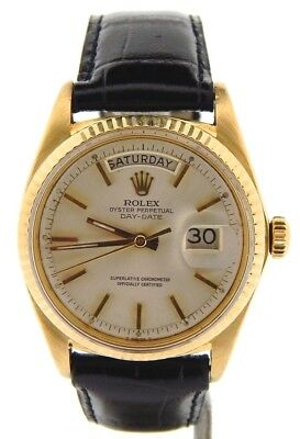 Mens Rolex Day-Date President Solid 18K Yellow Gold Watch Black Band Silver 1803