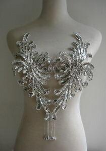 BD43 Fringed Bodice Sequin Bead Applique Silver Belly Dance/Dancewear/Tutu Dress