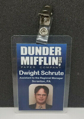 The Office Dwight Halloween Costume (The Office ID Badge-Dunder Mifflin Sales Dwight Schrute cosplay costume Style)
