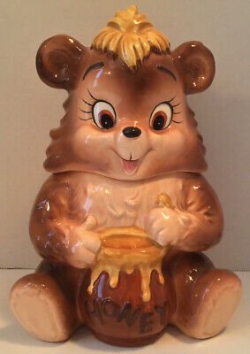 VINTAGE LEFTON HONEY BEAR COOKIE JAR TEDDY BEAR H7794 VERY RARE EXCELLENT