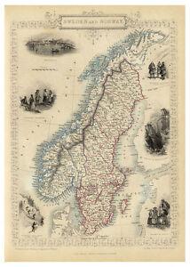 Sweden-Norway-Scandinavian-Peninsula-illustrated-map-John-Tallis-ca-1851